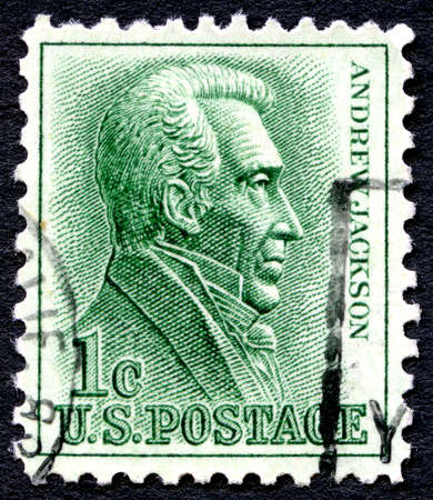andrew: UNITED STATES OF AMERICA - CIRCA 1963: A used postage stamp from the USA depicting an illustration of former US President Andrew Jackson, circa 1963.