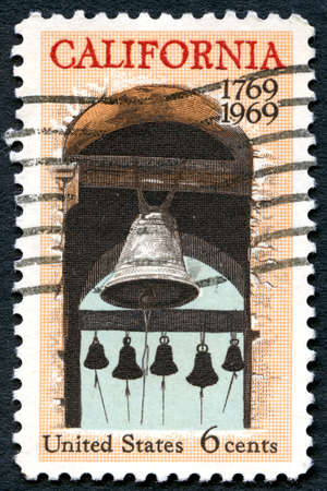 postmarked: UNITED STATES OF AMERICA - CIRCA 1969: A used postage stamp from the USA, celebrating the 200th Anniversary of California statehood, circa 1969.