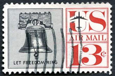 postmarked: UNITED STATES OF AMERICA - CIRCA 1967: A used postage stamp from the USA depicting an illustration of the Liberty Bell with the inscription Let Freedom Ring, circa 1967.
