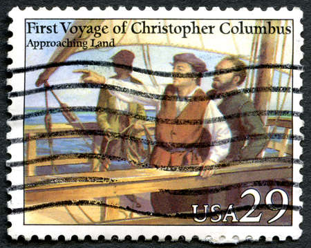 postmarked: UNITED STATES OF AMERICA - CIRCA 1992: A used postage stamp from the USA depicting an illustration of Christopher Columbus Approaching Land, circa 1992. Editorial