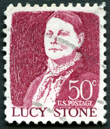 abolitionist: UNITED STATES OF AMERICA - CIRCA 1968: A used postage stamp from the USA depicting an illustration of historic Suffragist Lucy Stone, circa 1968. Editorial