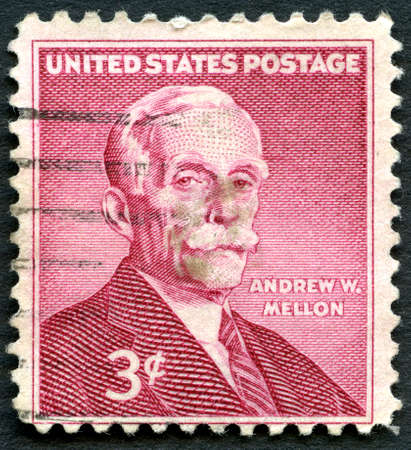 andrew: UNITED STATES OF AMERICA - CIRCA 1955: A used postage stamp from the USA depicting a portrait of former US Secretary of the Treasury Andrew W. Mellon, circa 1955.