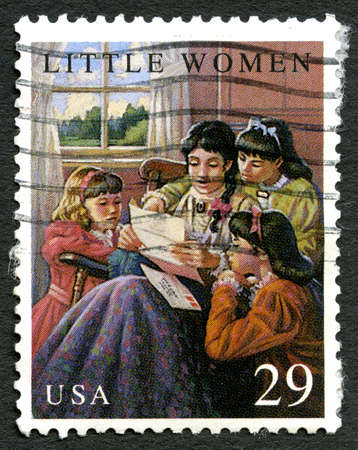 post mail: UNITED STATES OF AMERICA - CIRCA 1993: A used postage stamp from the USA, celebrating Little Women, circa 1993. Editorial