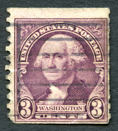 founding: UNITED STATES OF AMERICA - CIRCA 1932: A used postage stamp from the USA depicting an illustration of Founding Father and first President of the United States George Washington, circa 1932.