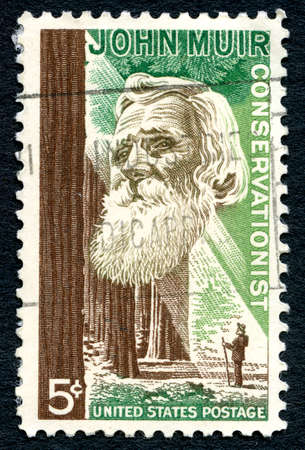 conservationist: UNITED STATES OF AMERICA - CIRCA 1964: A used postage stamp from the USA depicting an illustration of famous American Naturalist and Conservationist John Muir, circa 1964. Editorial