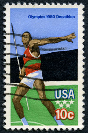 olympic games: UNITED STATES OF AMERICA - CIRCA 1980: A used postage stamp from the USA illustrating a Javelin scene and commemorating the 1980 Olympic Games, circa 1980.