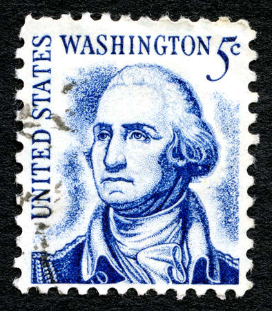george washington: UNITED STATES OF AMERICA - CIRCA 1950: A used postage stamp from the USA, depicting an illustration of the first President of the United States - George Washington, circa 1950.