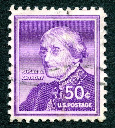 postmarked: UNITED STATES OF AMERICA - CIRCA 1940: A used postage stamp from the USA, depicting an illustration of American social reformer and womens rights advocate Susan. B. Anthony, circa 1940.