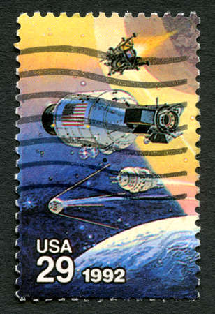 postmarked: UNITED STATES OF AMERICA - CIRCA 1992: A used postage stamp from the USA, celebrating the Achievements in Space by both the USA and Russia, circa 1992.