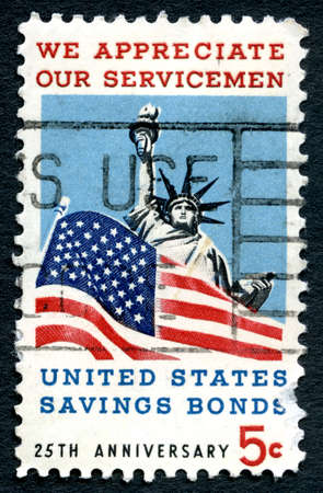 united states postal service: UNITED STATES OF AMERICA - CIRCA 1967: A used postage stamp from the USA, commemorating the duty done by Servicemen and protecting freedom and liberty, circa 1967. Editorial