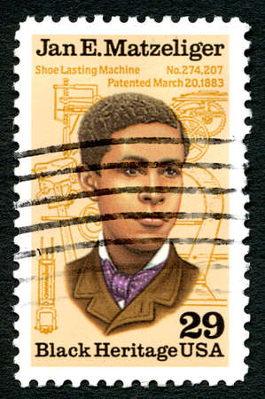 lasting: UNITED STATES OF AMERICA - CIRCA 1991: A used postage stamp from the USA, depicting a portrait of Jan. E. Matzeliger - inventor of the shoe Lasting Machine, circa 1991.
