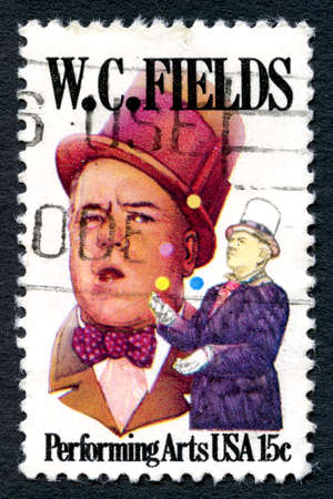 c a w: UNITED STATES OF AMERICA - CIRCA 1990: A used postage stamp from the USA, celebrating the life of American comedian and entertainer W. C. Fields, circa 1990. Editorial