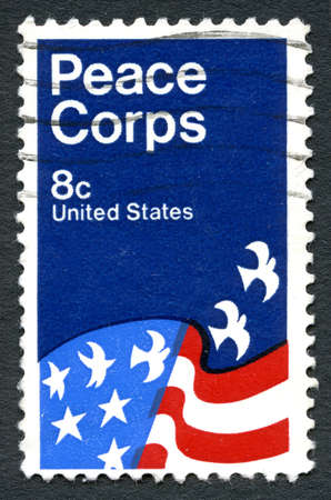 postmarked: UNITED STATES OF AMERICA - CIRCA 1971: A used postage stamp from the USA, celebrating the work of the Peace Corps organization, circa 1971.