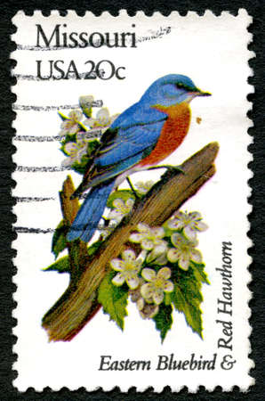 postmarked: UNITED STATES OF AMERICA - CIRCA 1982: A used postage stamp from the USA, celebrating the Missouri state bird and flower - the Eastern Bluebird and Red Hawthorn, circa 1982. Editorial