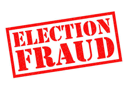manipulated: ELECTION FRAUD red Rubber Stamp over a white background.