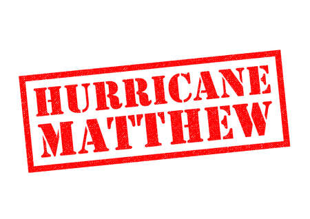 news event: HURRICANE MATTHEW red Rubber Stamp over a white background.