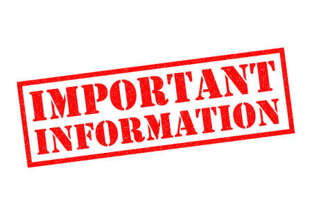IMPORTANT INFORMATION red Rubber Stamp over a white background.