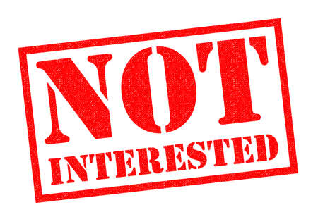 inattention: NOT INTERESTED red Rubber Stamp over a white background.