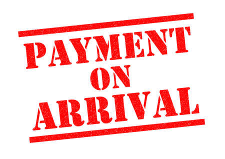 booked: PAYMENT ON ARRIVAL red Rubber Stamp over a white background.