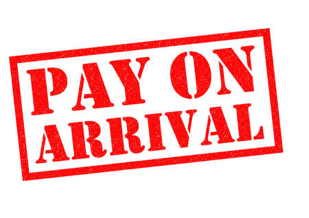 booked: PAY ON ARRIVAL red Rubber Stamp over a white background.