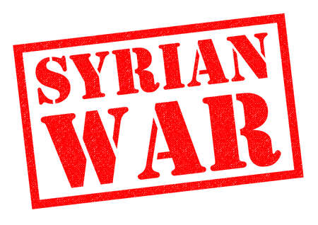 syrian: SYRIAN WAR red Rubber Stamp over a white background.