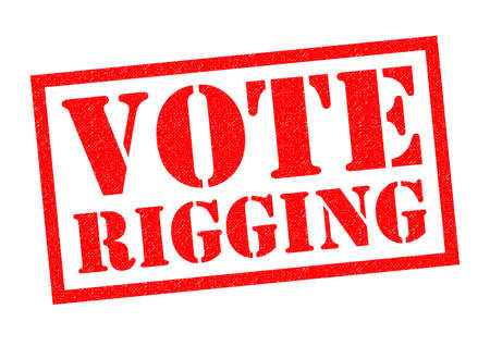 VOTE RIGGING red Rubber Stamp over a white background.