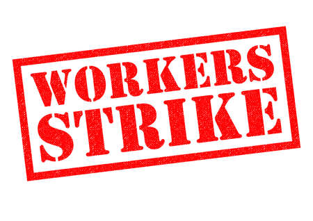 trade union: WORKERS STRIKE red Rubber Stamp over a white background.