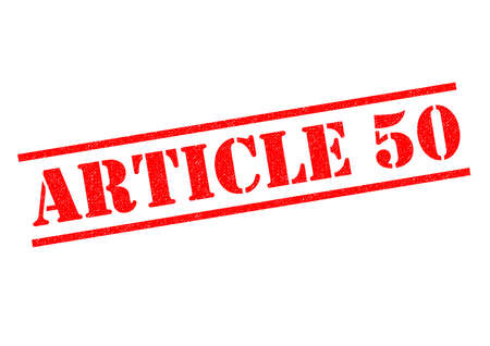 voted: ARTICLE 50 red rubber Stamp over a white background.