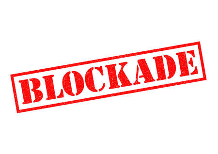 stopped: BLOCKADE red rubber Stamp over a white background. Stock Photo