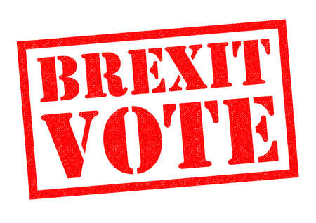 triggered: BREXIT VOTE red Rubber Stamp over a white background. Stock Photo