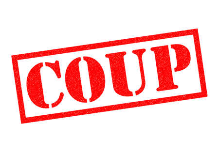 coup: COUP red Rubber Stamp over a white background. Stock Photo