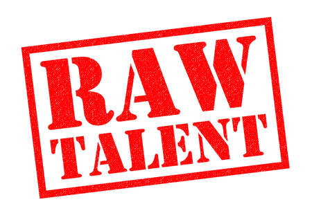 RAW TALENT red Rubber Stamp over a white background. Stock Photo