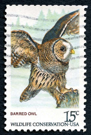barred: UNITED STATES OF AMERICA - CIRCA 1978: A used postage stamp from the USA, depicting an illustration of a Barred Owl and promoting wildlife conservation, circa 1978.