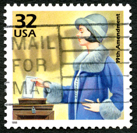 bill of rights: UNITED STATES OF AMERICA - CIRCA 1998: A used postage stamp from the USA, celebrating the 19th Amendment - the female right to vote, circa 1998. Editorial