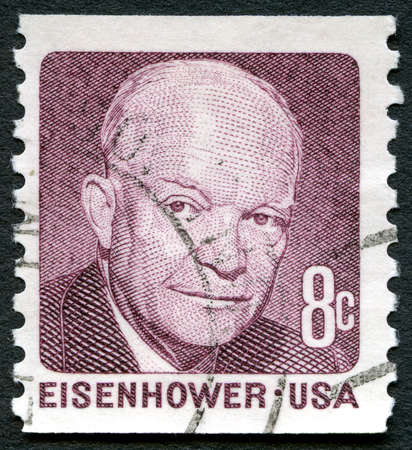 eisenhower: UNITED STATES OF AMERICA - CIRCA 1971: A used postage stamp from the USA, depicting a portrait of former US President Dwight D Eisenhower, circa 1971.