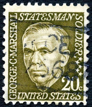 statesman: UNITED STATES OF AMERICA - CIRCA 1965: A used postage stamp from the the USA, depicting an illustration of Statesman George C. Marshall, circa 1965. Editorial