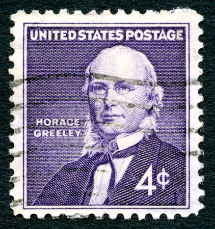 horace: UNITED STATES OF AMERICA - CIRCA 1960: A used postage stamp from the USA, depicting a portrait of former member of the U.S. House of Representatives, Horace Greeley, circa 1960. Editorial