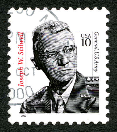 general cultural heritage: UNITED STATES OF AMERICA - CIRCA 2000: A used postage stamp from the USA, depicting a portrait of Four-Star General Joseph Warren Stilwell of the United States Army, circa 2000.