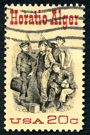 dick: UNITED STATES OF AMERICA - CIRCA 1982: A used postage stamp from the USA, depicting an illustration Frontispiece from Ragged Dick, by Horatio Alger, circa 1982.