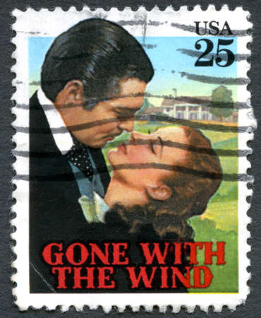 postage: UNITED STATES OF AMERICA - CIRCA 1990: A used postage stamp from the USA, showing an image from the classic movie Gone With The Wind, circa 1990.
