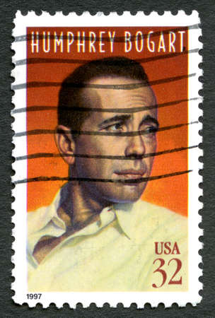 postage: UNITED STATES OF AMERICA - CIRCA 1997: A used postage stamp from the USA, celebrating famous Hollywood actor Humphrey Bogart, circa 1997.