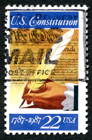 us constitution: UNITED STATES OF AMERICA - CIRCA 1987: A used postage stamp from the USA, commemorating the 200th Anniversary of the signing of the U.S. Constitution, circa 1987. Editorial