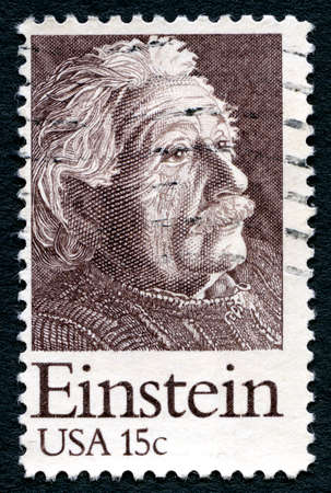 physicist: UNITED STATES OF AMERICA - CIRCA 1979: A used postage stamp from the USA, depicting a portrait of famous Physicist Albert Einstein, circa 1979.