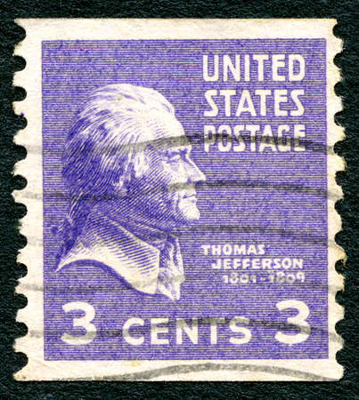 founding: UNITED STATES OF AMERICA - CIRCA 1938: A used postage stamp from the USA, depicting a portrait of founding father and former President of the United States Thomas Jefferson, circa 1938.