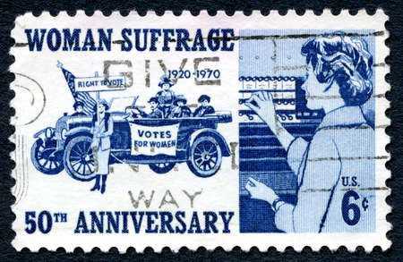 suffrage: UNITED STATES OF AMERICA - CIRCA 1970: A used postage stamp from the USA, celebrating the 50th Anniversary of Woman Suffrage and gaining the right to vote, circa 1970.