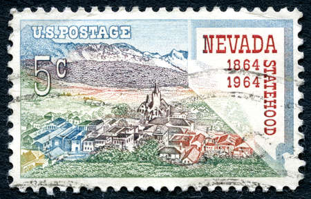 silver state: UNITED STATES OF AMERICA - CIRCA 1964: A postage stamp from the USA, celebrating the 100th Anniversary of Nevada Statehood, circa 1964.