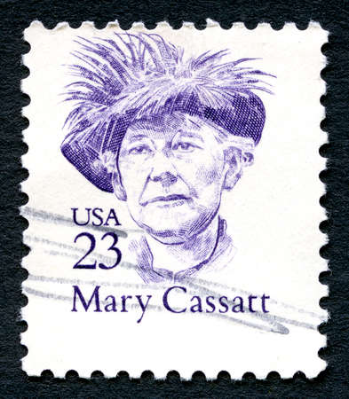 printmaker: UNITED STATES OF AMERICA - CIRCA 1986: A used postage stamp from the USA, depicting a portrait of famous American Painter Mary Cassatt, circa 1986.