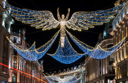 regent: A view of the beautiful Christmas lights in Regent Street, central London.
