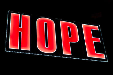 hopefulness: HOPE spelt out in lights.