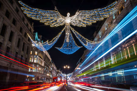 regent: LONDON, UK - DECEMBER 20TH 2016: A view of the beautiful Christmas lights in Regent Street, central London, on 20th December 2016.